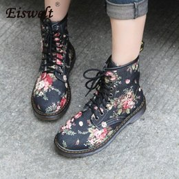 oxford flat ankle boots NZ - EISWELT Woman Martin Boots Fashion Flower Shoes Lace Up Motorcycle Oxfords Flats Ankle Boots for Women Casual Spring Autumn