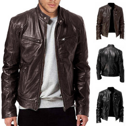2020 Homens Jacket New Men Motocycle Jacket 2020 Trendy Streetwear Fique Collar PU Leather Jacket Slim Fit Casual Outono Coats