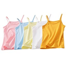 girls cotton undershirts 2019 - 100% Cotton Girls Tank Tops Kids Underwear Solid Candy Color Blouse Girls Vest Children Singlet Tops Undershirt for 2-10