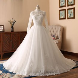 Vintage Real Pearls Australia - 2018 New Arrival Ball Gown Real Photos High Collar Appliques With Beaded Pearls Bridal Gowns Tulle Illusion Chapel Train Wedding Dress