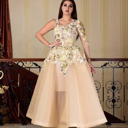 $enCountryForm.capitalKeyWord Australia - Champagne Prom Dresses Ankle Length Square Neckline Sparkly Appliques Sequins A Line Organza Evening Dresses Arabic