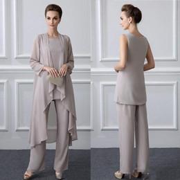 $enCountryForm.capitalKeyWord NZ - 2019 New 3 Pieces Plus Size Elegant Chiffon Mother of the Bride Pant Suits with Long Jactet for Fall Vestido De Noiva Wear