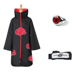 Naruto akatsuki itachi uchiha costume online shopping - Anime NARUTO Uchiha Itachi Cosplay Costume Trench Akatsuki Cloak Robe Ninja Coat Set Ring Headband Halloween