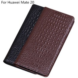 Mate Genuine Leather Australia - Crocodile Texture Genuine Leather Flip Phone Case For Huawei Mate 20 Case For Huawei Mate 20 Flip Case With Kickstand