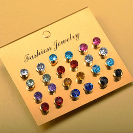 $enCountryForm.capitalKeyWord NZ - Euro-American Explosion Card Multi-color Small Fresh Color Flash Drill Zircon Small Ear Nails 12 Pairs Wholesale of Clamping Ear Jewelry