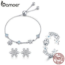 925 Sterling Jewelry Sets Australia - Bamoer Fashion 925 Sterling Silver Winter Gift Snowflake Bracelets & Earrings & Rings Jewelry Sets Sterling Silver Jewelry Set Y19051302