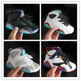 Cheap Breathable Basketball Shoes Australia - 2019 Cheap Kids 7 Basketball Shoes youth boy girl 7s VII Purple UNC Bordeaux Olympic Panton N7 Zapatos Trainer Children Sport Shoes Sneaker