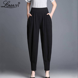 baggy summer trousers UK - LOMAIYI Baggy Harem Pants Women Spring Summer High Waist Pants Women's Work Trousers Female Bloomers Ladies Wide Leg BW019