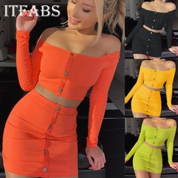 Wholesale party dress waist high resale online – Womens Piece Bodycon Crop Top Skirt Set Bandage Dress Party Long Sleeve