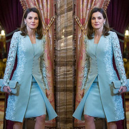 $enCountryForm.capitalKeyWord NZ - 2019 Elegant Outdoor Mother Of Bride Dresses Suits Short Two Piece Blue Long Sleeve Groom Mother Dress For Wedding Lace Arabic Evening Dress