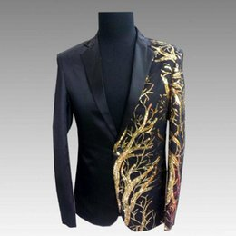 d523dbcfa8d0 Hot 2019 new men's suit bar DJ rock punk black gold tree sequins Korean  version of the slim suit