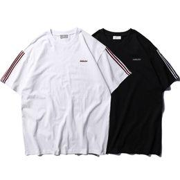 Black Striped T Shirt Men Australia - AMBUSH Striped T-shirts Men Women Casual Oversized Tee AMBUSH Logo Embroidered Short Sleeve T-shirts Black White CLI0426