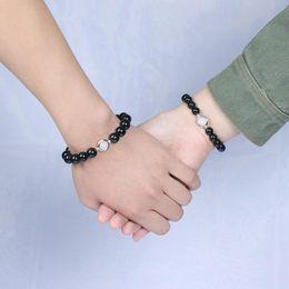 $enCountryForm.capitalKeyWord Australia - Crystal obsidian couple bracelet moonlight stone bracelet 8-10mm with rainbow eye single ring hand string wholesale