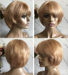 $enCountryForm.capitalKeyWord Australia - Celebrity Wig Lace Front Wigs PiXie Short Cut Blonde Color 10A Brazilian Virgin Human Hair Full Lace Wig for Black Women Free Shipping