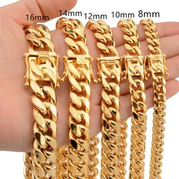 Discount rose gold miami cuban chain News Arrival 8 10 12 14 16 18mm Stainless Steel Miami Curb Cuban Chain Necklaces Casting Dragon Lock Clasp Mens Rock Dj