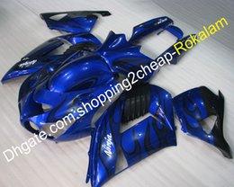 Black Body Molding Australia - Ninja ZX14R 2006-2011 Black Flame Blue Body Fairing For Kawasaki ZZR-1400 ZX-14R 06 07 08 09 10 11 Full Fairings Parts (Injection molding)