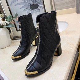 Discount female leather work shoes heels - Woman's Leather shoes Lace up Ribbon belt buckle ankle boots factory direct female rough heel round head autumn win