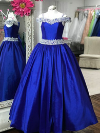 blue photo girl NZ - Cold Shoulder Junior Pageant Dresses 2019 Off the Shoulder Royal Blue Pageant Gowns for Little Baby Long Rhinestones Crystals Real Photos