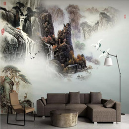 Chinese Painting Paper Australia - Chinese style 3d stereo wallpaper ink landscape landscape Chinese painting living room sofa TV background wall paper mural arkadi