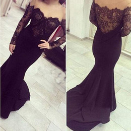 $enCountryForm.capitalKeyWord NZ - Abendkleider Black Prom Dresses Long Sleeve Mermaid Evening Gowns Elegant Off the Shoulder Lace Cocktail Party Ball Dresses Formal Gown