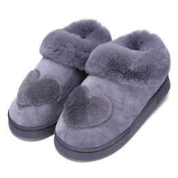 $enCountryForm.capitalKeyWord Australia - 1New Arrival Heart-shaped Cotton Women Slippers Warm Plush Winter Fur Slippers Soft Indoor Shoes Flat With Home Slippers