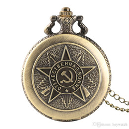 $enCountryForm.capitalKeyWord UK - Classical Bronze Soviet Communist Party Emblem Theme Quartz Pocket Watches Necklace Pendant Women Men Boy Girls Children Clock Gifts