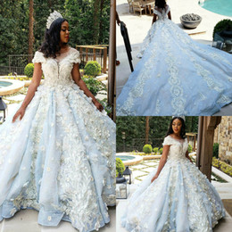 nude blue plus size floral dress 2019 - Gorgeous Church Wedding Dresses Lace 3D Floral Appliqued Ball Gown Country Wedding Dress Monarch Train Luxury Bridal Gow