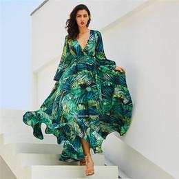 ac0e828d02 Long Sleeve Dress Vintage Green Leaves Tropical Beach Maxi Dresses Boho  Casual V Neck Belt Lace Up Tunic Draped Plus Size Dress Peacock
