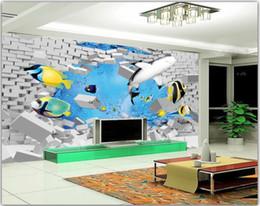 Marines Housing Australia - 3d wallpaper custom photo Marine world shark fish wall brick wall living room Home improvement 3d wall murals wallpaper for walls 3 d