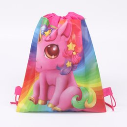drawstring packaging bags wholesale UK - Unicorn Pink Drawstring bag Cartoon School Bag for Girls Travel Storage Package baby Children Unicorn bag Backpack Birthday Party 34*27CM