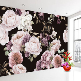 $enCountryForm.capitalKeyWord Australia - Custom 3D Photo Wallpaper Mural Hand Painted Black White Rose Peony Flower Wall Mural Living Room Home Decor Painting Wall Paper
