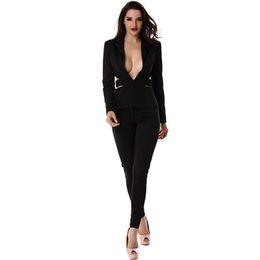 67ecd751e Moda Primavera Elegante Escritório Mulheres Ternos Preto Oco Sexy Lady  Terno de Negócios Define Blazers e Calças 2 Peças desgaste do Trabalho