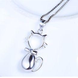 $enCountryForm.capitalKeyWord Australia - gentleman cat pendants Woman Jewelery pure S925 silver diy rope chains necklaces animal bow tie open single slider fashion new 22x13mm 6 pcs