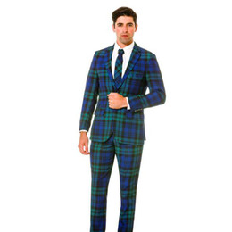 navy check suit Australia - Blue Green Check Groom Tuxedos Notched Lapel Men Suits Wedding Prom Dinner Best Man Blazer(Jacket+Pants)
