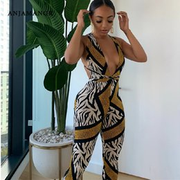 zebra print jumpsuit Australia - ANJAMANOR Animal Print Sexy Tight One Piece Outfit Jumpsuit for Women Zebra Snake Halter Open Back Nightclub Rompers D91-AD86 T200610