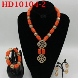 $enCountryForm.capitalKeyWord Australia - Red Coral Jewelry Sets for Women Fantastic Red and Gold Nigerian Wedding Gift Coral Bead Necklace Jewelry Set for Brides HD10104