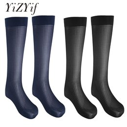huf stockings UK - YiZYiF 2 Pairs Mens Socks sexy thigh highs long Stocking Striped Thin Breathable Sock Over-the-Calf Crew Business Silk Socks Men