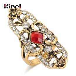 $enCountryForm.capitalKeyWord Australia - Kinel Hot Vintage Wedding Rings For Women Antique Gold Color Mosaic White Crystal Fashion Turkey Jewelry Red Big Ring Gift