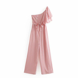 $enCountryForm.capitalKeyWord UK - 2019 women laminated ruffles sleeve striped print bow tied sashes jumpsuits ladies one sleeve pants casual chic rompers DS2287