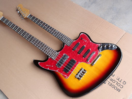 double neck bass guitar body UK - Custom factory wholesale discount price, cherry sunburst guitar double neck, 6 + 4 string electric guitar and bass, chrome hardware