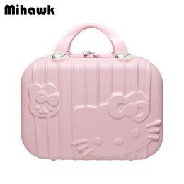 Makeup Suitcases Australia - Mihawk Cartoon Hello Kitty Makeup Suitcase Bag Lovely Double Zipper Toiletries Wash Tote Portable Handbag Accessories Supplies