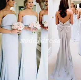 StrapleSS big wedding dreSSeS online shopping - Country Big Bow Mermaid Bridesmaid Dresses Strapless Backless Sweep Train Garden Beach Wedding Guest Gowns Arabic Maid Of Honor Dress
