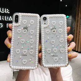 phone case white pearls Canada - Pearl Diamond Glitter Sequins TPU cute phone case Little Love Back Cover for iphone X XR XS MAX 6S 7 8 plus