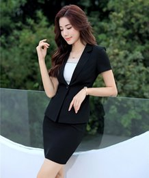 uniform work women Canada - Formal Ladies Black Blazer Women Business Suits with Skirt and Jacket Work Wear Sets Office Uniform Styles