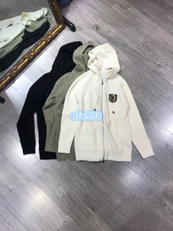 long black cardigan girls NZ - High end women girls Sweater knit Cardigan badge with Hooded collar Long sleeve zipper women Solid color sweater knit cardigan top coat