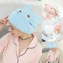 $enCountryForm.capitalKeyWord NZ - Women Microfiber Dry Hair Hat Hair Turban Quickly Wrapped Towel Cute Bear Bathing Caps Women Dry hats Hat Cap Beanies