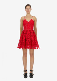 $enCountryForm.capitalKeyWord UK - A Line Vacation Boho Chic Beach Dress 2019 Summer Sexy Red White Hollow Out Lace V-neck Strapless Mini Party Dress self portrait dress