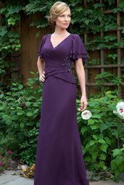 $enCountryForm.capitalKeyWord Australia - Long Purple Mother of the Bride Dresses 2019 Short Sleeve V Neck Chiffon Long Mermaid Formal Mother of Groom Suits Evening Party Gowns