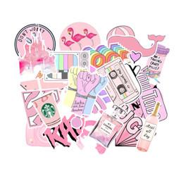 Venta al por mayor de Caso 53pcs PVC impermeable equipaje etiquetas de la piel protectores de Graffiti rosa pegatinas carretilla monopatín ordenador etiquetas engomadas del coche para ipaid