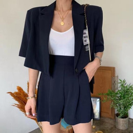 $enCountryForm.capitalKeyWord Australia - Women Blazers Sets 2019 Summer Korea casual Coats short Sleeve Suit Jackets+high waist shorts Two Piece Suits